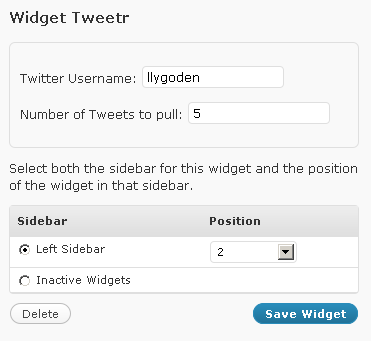 Tweetr My First WordPress Widget
